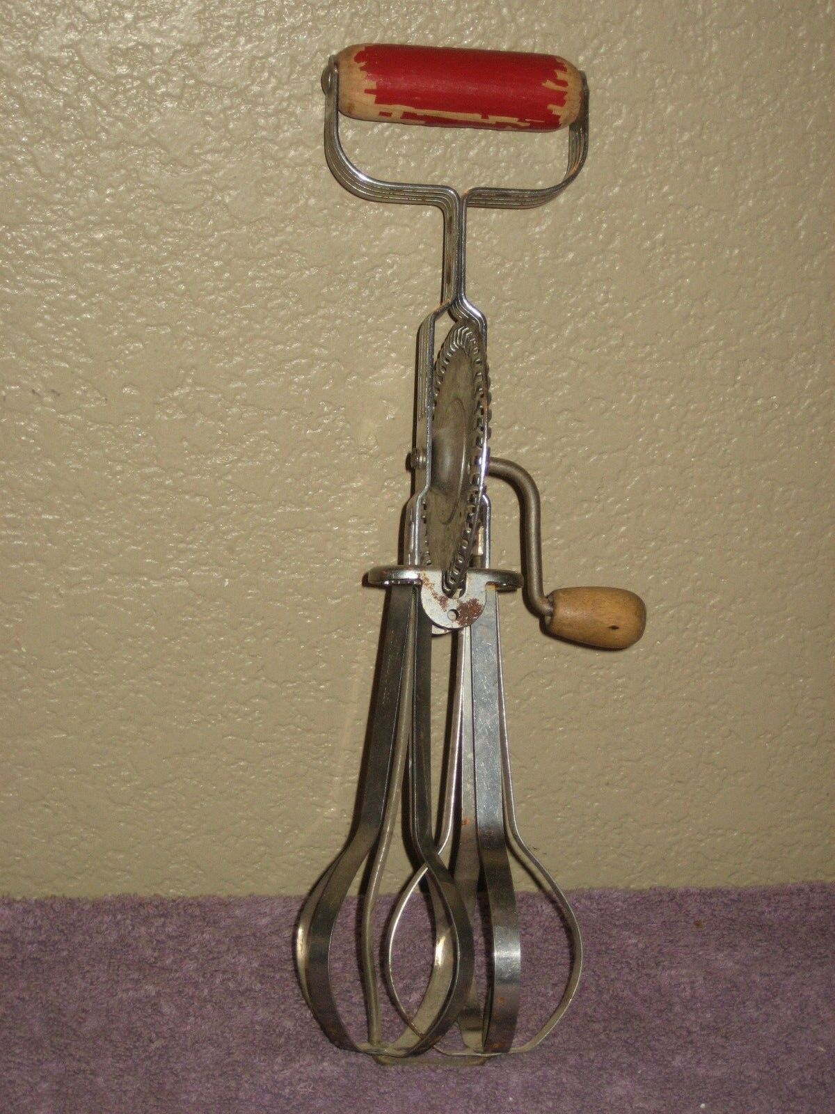 Vintage Ekco Products Company - A&J Stainless Steel Drive Egg Beater Wood Handle image 2