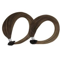 Sunny 18inch 7A Grade Keratin U Tip Human Hair Extensions-Dark Brown #4 Ombre Go