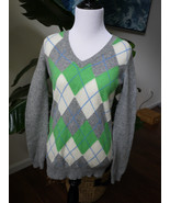 Gap Small Gray Green Argyle Sweater s small wool blend v-neck - $14.99