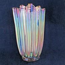 Fostoria Celestial Mid century Federal  Iridescent Glass Flower Vase - $39.59