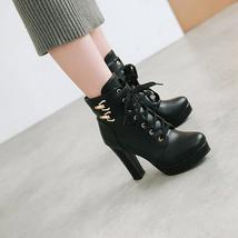 9Bb152 Sexy 11 cm lace-up booties, thick & high httls,size 4-8.5,black - $52.80