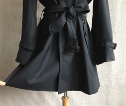 100% AUTHENTIC BURBERRY LONDON CLASSIC BLACK WOOL TRENCH COAT JAPAN  image 5