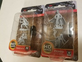 D & D Nolzur's Miniatures Lot, Elven Druids and Human Barbarians, 2 packs - $11.88