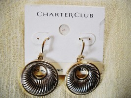 NEWCHARTER CLUB SILVER/GOLD TONEDROP-DANGLE HOOPS, FRENCH WIRES - $7.99