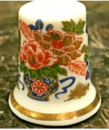Vintage Imari or Imari-Like Fine Bone China Thimble Hand Painted with Gold - $7.99