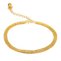 Charm Bead Chain Anklet Bracelet Gold Plated Anklet Charm Foot Jewelry - $15.99