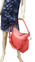 COACH BAG GENUINE LEATHER LARGE HOBO HANDBAG AUTHENTIC CORAL RED - $231.20