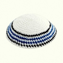 White Blue Black Knitted Kippah Striped Yarmulke Yamaka Judaica Israel 17 cm
