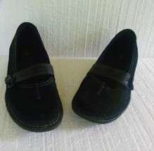Clarks Artisan Black Mary Janes Slip On Suede Leather Shoes Size 7.5 M H... - $15.79