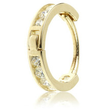 9ct Gold Channel Set Crystal Hinged Ring 0.8 x 8mm (20g) Nose Cartilage etc - $60.58