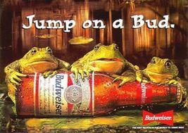 Vintage Budweiser King of Beer Ad   Jump On A Bud   2.5 x 3.5 Fridge Magnet - $3.99