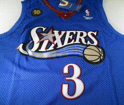 ALLEN IVERSON / NBA HALL OF FAME / AUTOGRAPHED 76ERS BLUE THROWBACK JERSEY / COA image 4