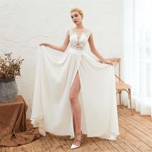 Women's Long Halter Floral Embroidered Tulle Wedding Dress Bridal Gown image 3