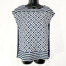 Tommy Hilfiger Blue Sleeveless Geometric Print Popover Blouse Solid Knit Back S - $13.86