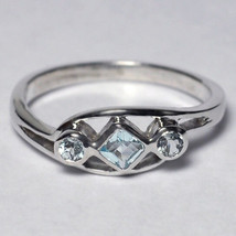 Natural Blue Topaz 3 Stone Band Ring Jewelry Womens Sterling Silver Beze... - $49.00