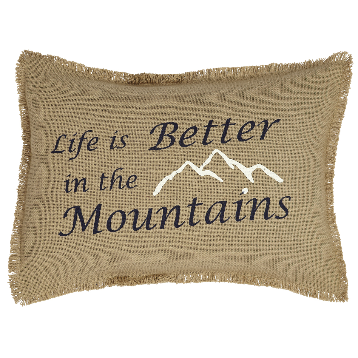 BURLAP NATURAL Pillow -  Life/Mountains -14x18 - VHC Brands - Country Farmhouse