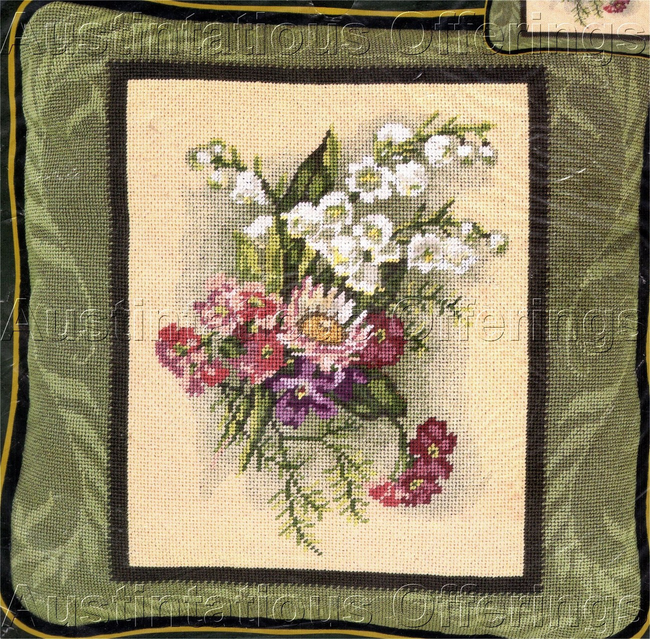 VICTORIAN VIGNETTE LILY OF VALLEY BOUQUET NEEDLEPOINT KIT
