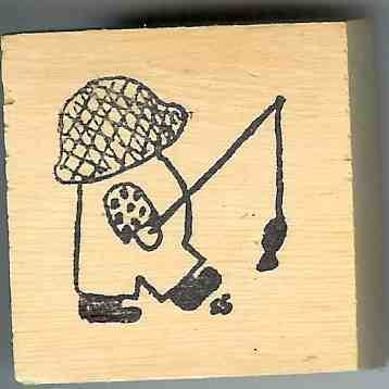 Overall Boy Bull Rubber Stamp signed Original small
