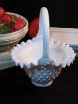 Vintage Fenton Milk Glass Hobnail Basket  - $34.99