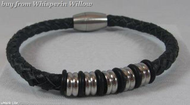 Black leather with stainless steel beads 1