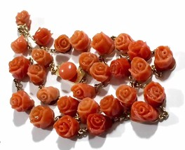 Victorian Riviere 14-15k closed backs no dye Salmon coral carved roses n... - $2,778.75
