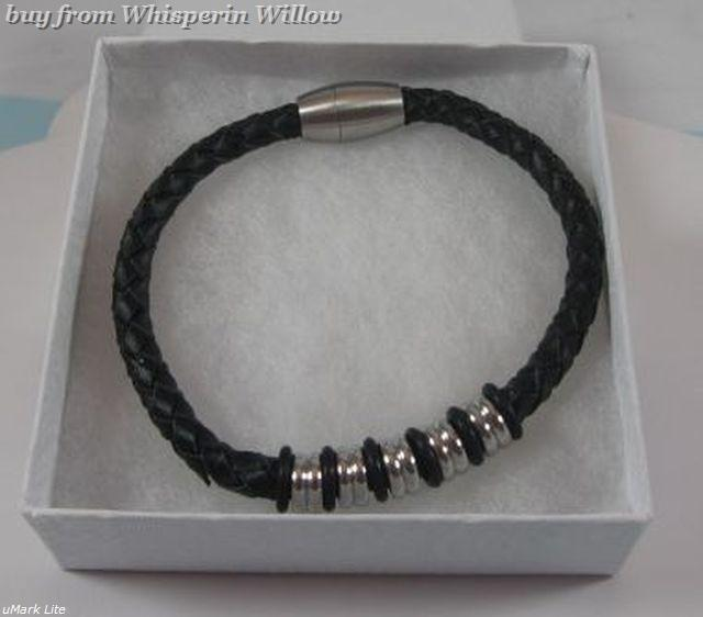 """9"""" Black Leather Bracelet with Stainless Steel Beads"""
