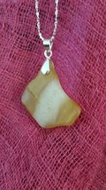 Necklace,Yellow & White Quartz Pendant Natural Stone Sterling Sliver Chain - $16.34