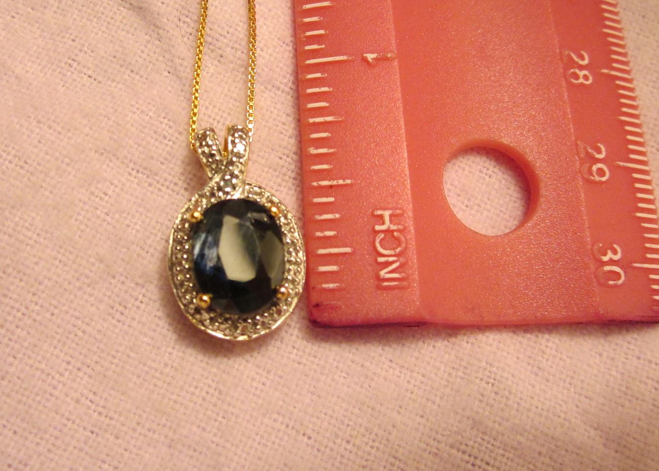 Large Sapphire Pendant Necklace