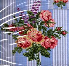 Spring Rose Posy Cross Stitch Pillow Kit Blue Ticking Stripe - $25.00