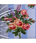 SPRING ROSE POSY CROSS STITCH PILLOW KIT BLUE TICKING STRIPE - $25.00
