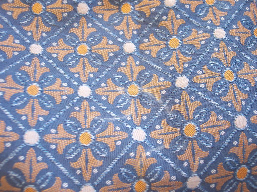 Blue & Gold Print Damask Fabric/Upholstery-1 Yd