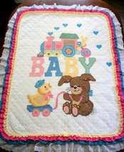 "Hand Quilted & X Stitched ""BUNNY N' TOYS"" Baby Quilt Crib Cover add name - $169.99"