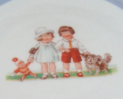 Antique 50's Handpainted Blue Children's Dish Plate Made in Germany - Very Old