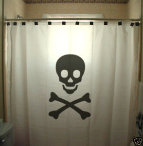 SHOWER CURTAIN horror Skull and Crossbone sign pirates