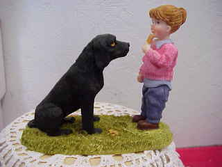 Little Girl with Black Lab Figurine