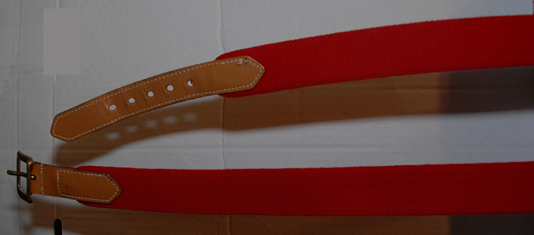 Dooney & Bourke Red Fabric Tan Leather Belt Sz 40