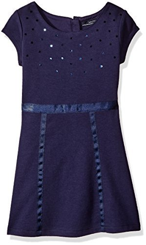 Nautica Little Girls' Toddler Knit Dress with Sequin Neckline and Grosgrain Trim