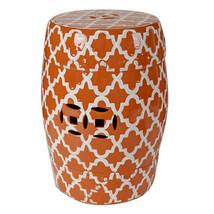 """Porcelain Garden Stool White On Orange 13""""x18"""" - 69634ORAN - $118.79"""