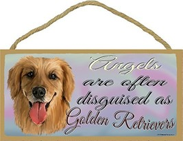 """Angels Are Often Disguised As Golden Retrievers Dog Sign Plaque 5""""x10"""" - $14.99"""