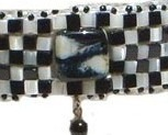 Black Onyx, Mother of Pearl , & Lamp Work Choker Necklace Black & White