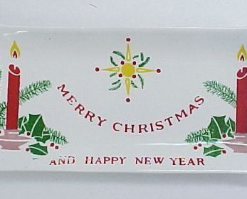 Vintage Merry Christmas and Happy New Year Nut Candy Dish by Commodore of Japan