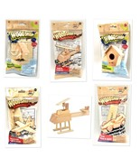 Wooden Craft Project Kits Toy Race Car Helicopter Plane Bird House And F... - $6.99