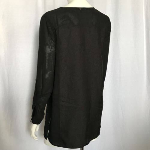 Calvin Klein Jeans Women XSmall Blouse Tunic Roll Tab Sleeve Black