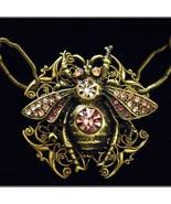 Steampunk Neo Victorian Purple Rhinestone Brass Filigree Large Bee Necklace - $59.99