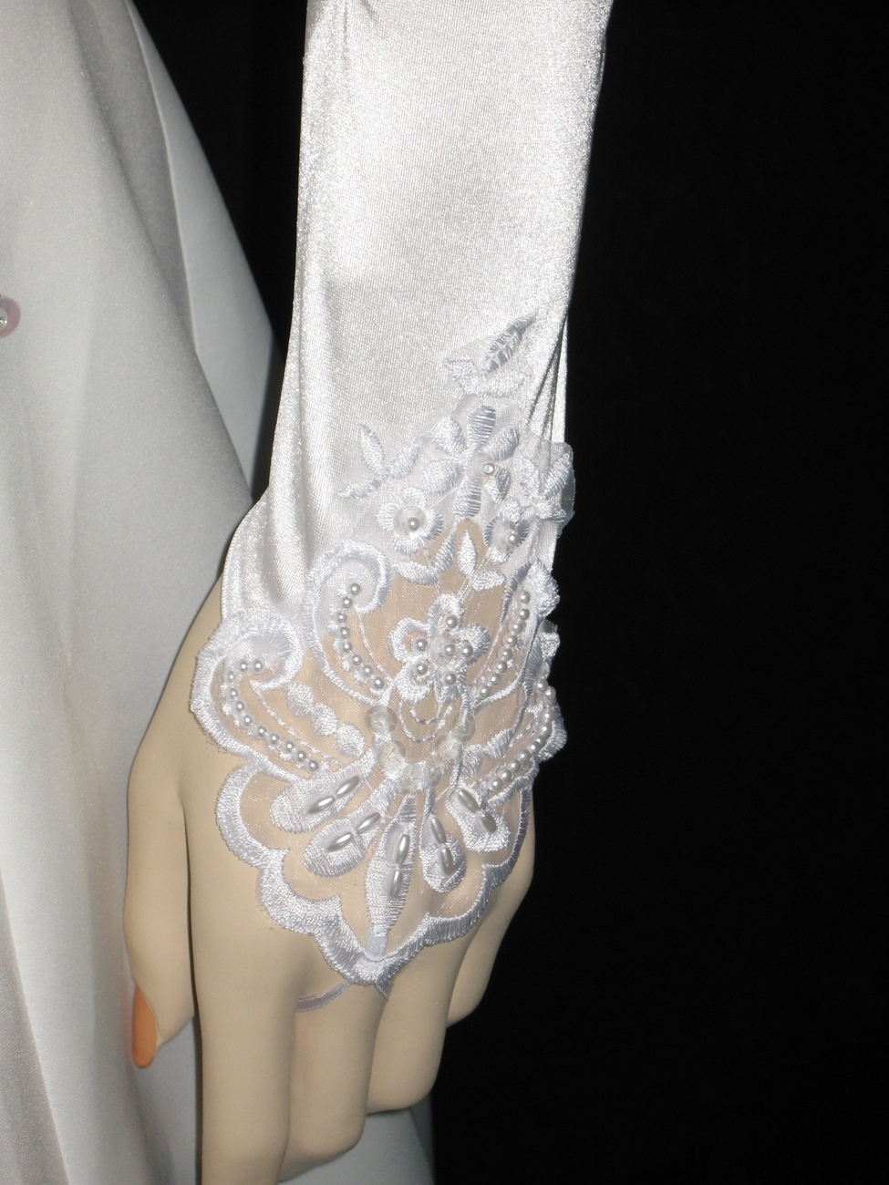 """19"""" White Fingerless Stretch Satin Lace Beaded Bridal Wedding Party Gloves g2w19"""