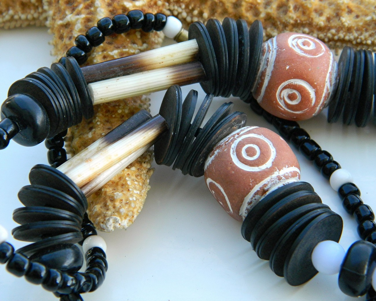 Tribal Necklace Orange Clay Black Wood Bone Beads Ethnic