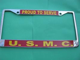 -License Plate Frame-Proud to Serve-U.S.M.C.-Chromed Cast Metal #811953 - $19.70