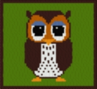Latch Hook Rug Pattern Chart: OWL pillowtop - EMAIL2u