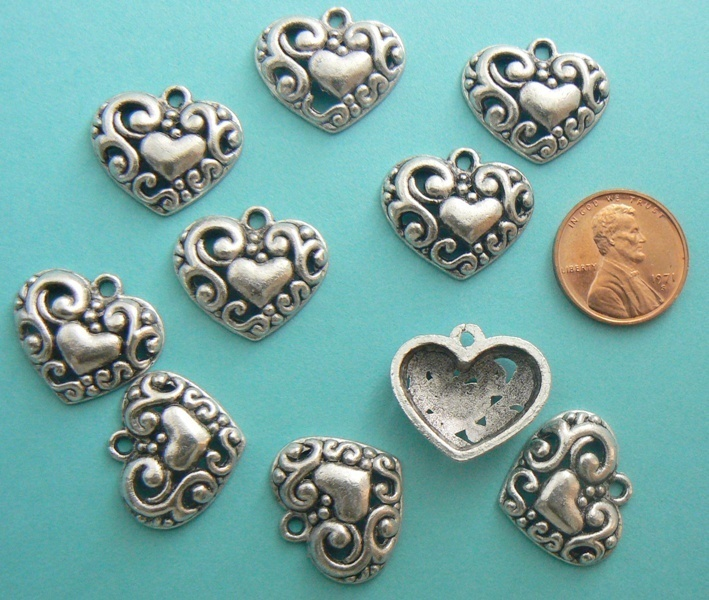 Heart Swirl Charms - Swirl Design - Silver Toned - Lot of 10