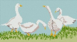 Latch Hook Rug Pattern Chart: GAGGLE of GEESE - EMAIL2u - $5.75